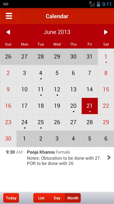 Lybrate Android App Calendar