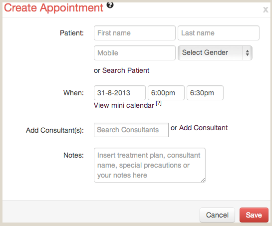 Add a new Patient while Creating an Appointment