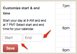 Customize Calendar Start and End Time