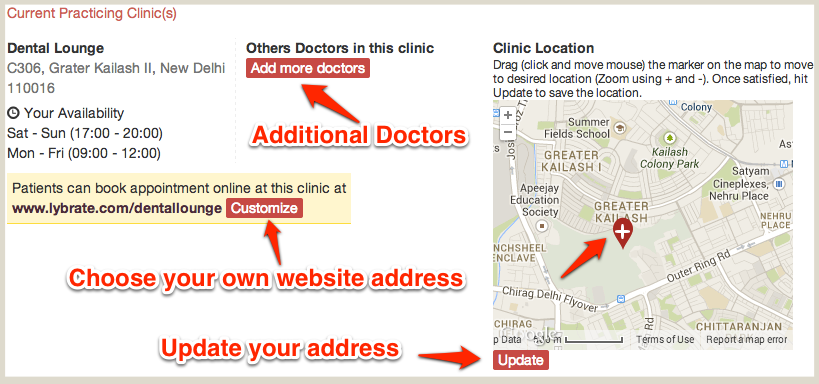 Customize Clinic Website