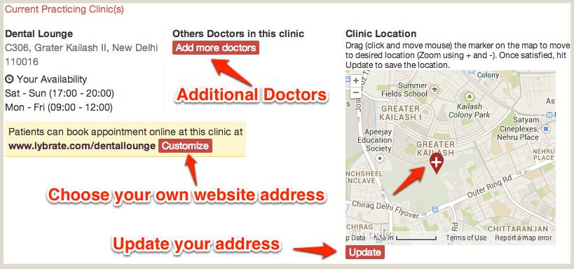 Customize Clinic Website