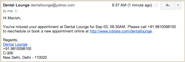 Missed Appointment Email
