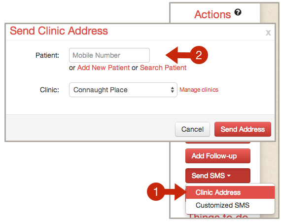 Send Clinic Address