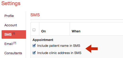 Appointment SMS Settings