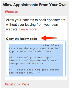 Instructions to allow patients to book appointment directly from your Website