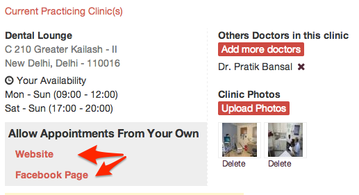 Allow patients to book appointment directly from your Website and Facebook Page